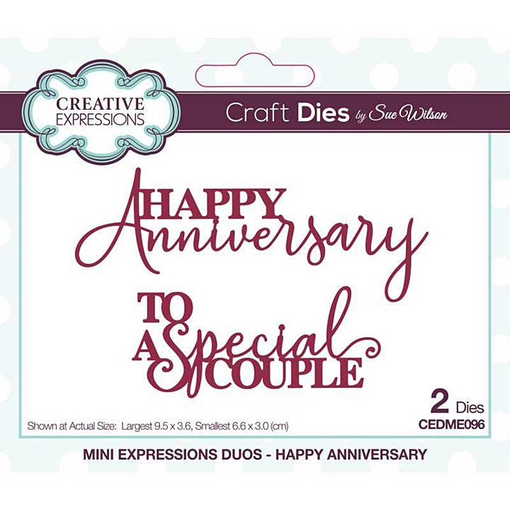 Creative Expressions Sue Wilson Mini Expressions Duos Happy Anniversary Craft Die