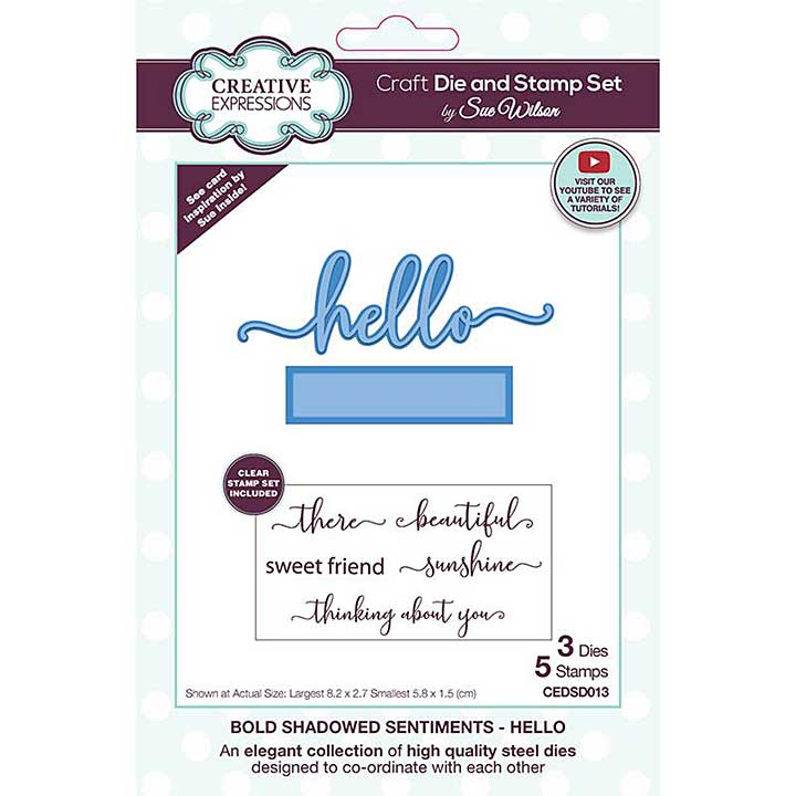 Creative Expressions Sue Wilson Bold Shadowed Sentiments Hello Craft Die and Stamp Set