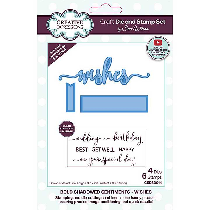 Creative Expressions Sue Wilson Bold Shadowed Sentiments Wishes Craft Die and Stamp Set