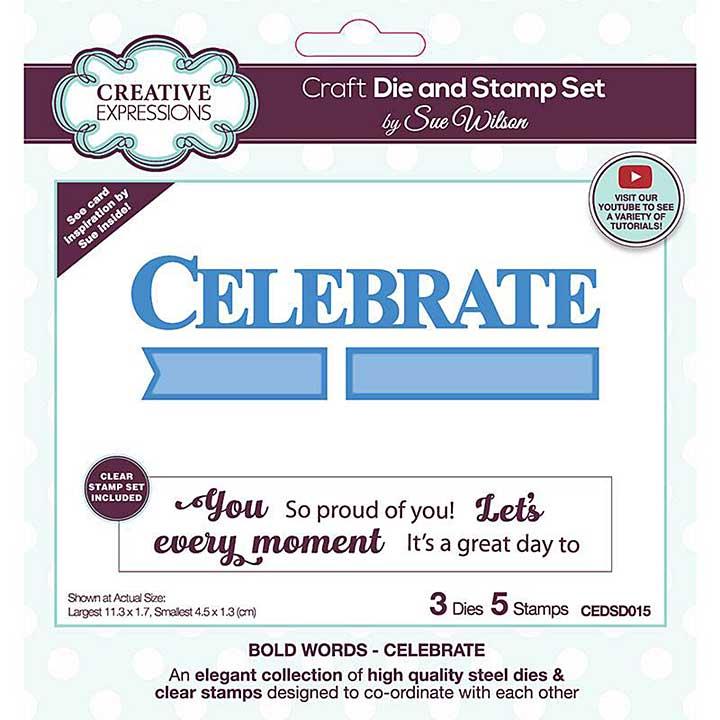 Creative Expressions Sue Wilson Bold Words Celebrate Craft Die & Stamp Set