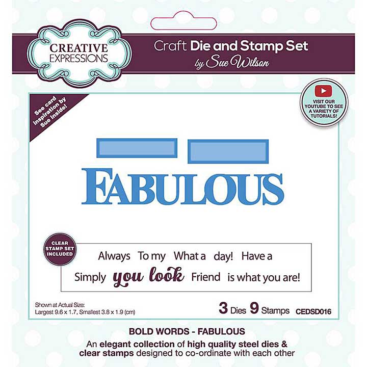 Creative Expressions Sue Wilson Bold Words Fabulous Craft Die & Stamp Set