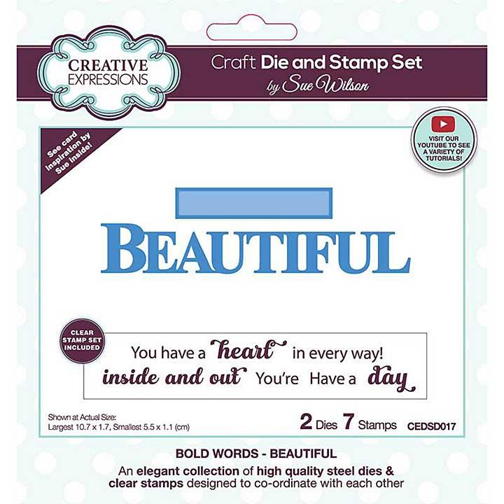 Creative Expressions Sue Wilson Bold Words Beautiful Craft Die & Stamp Set