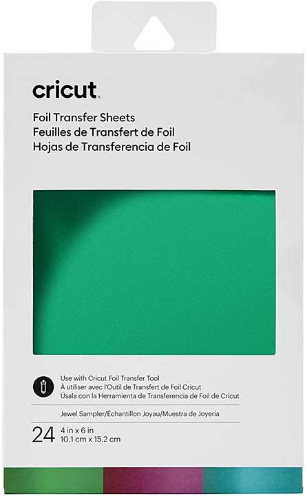 Cricut Foil Transfer Sheets - Jewel (Aqua, Purple, Emerald, 24 sheets, 4 x 6)