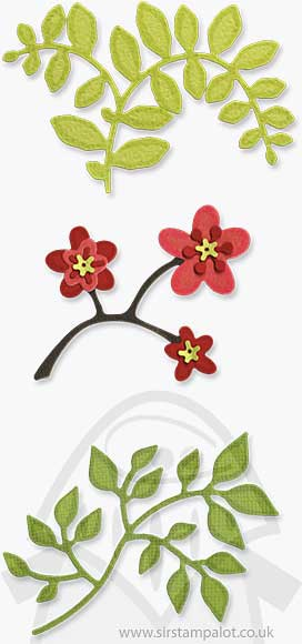 Sizzlits 3 Die Set - Flowers Branches and Leaves Set