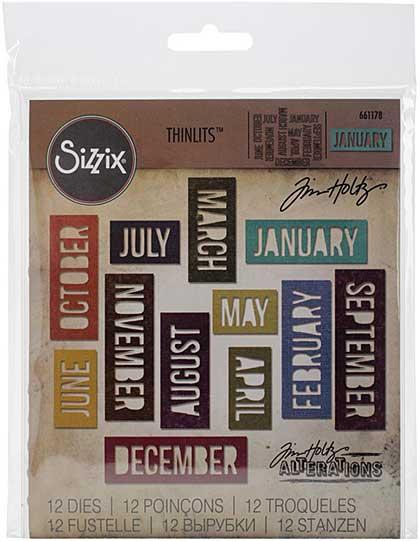 SO: Sizzix Thinlits Dies - Block Calendar Words by Tim Holtz (12pk)