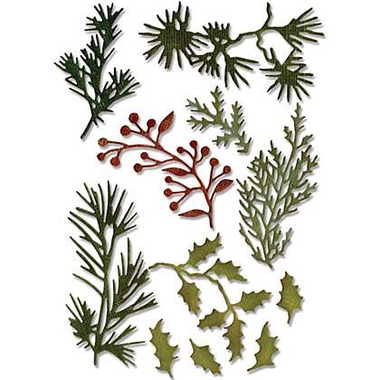 Mini Christmas Holiday Greens - Sizzix Thinlits Dies by Tim Holtz (11pk)