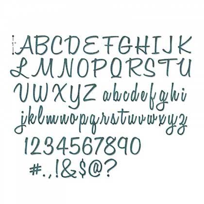 Sizzix Thinlits - Alphanumeric, Script (1 inch tall) (69 dies)
