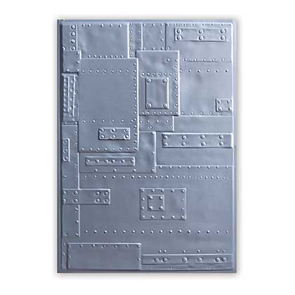 SO: Sizzix 3D Texture Fades - Foundry Metal Plates and Rivets Embossing Folder by Tim Holtz
