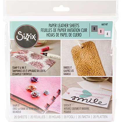 Sizzix Paper Leather - Basics Assorted (6x6, 20 sheets)