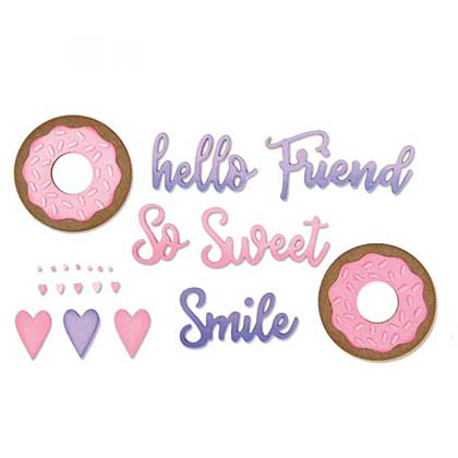 Sizzix Thinlits Die Set 9PK-Phrases Sweet & Donut by Jen Long