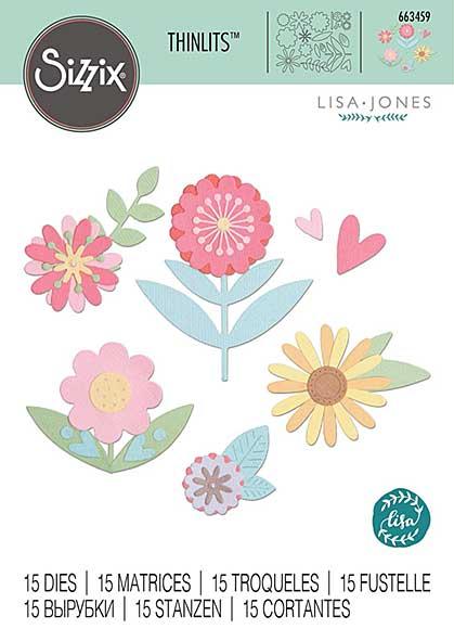 Sizzix Thinlits Die 15PK Flower Set by Lisa Jones