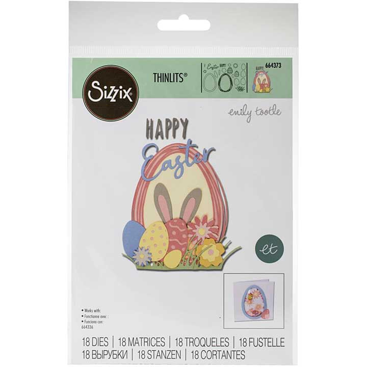 Sizzix Thinlits Die Set - Easter Sentiments by Emily Tootle (18PK)