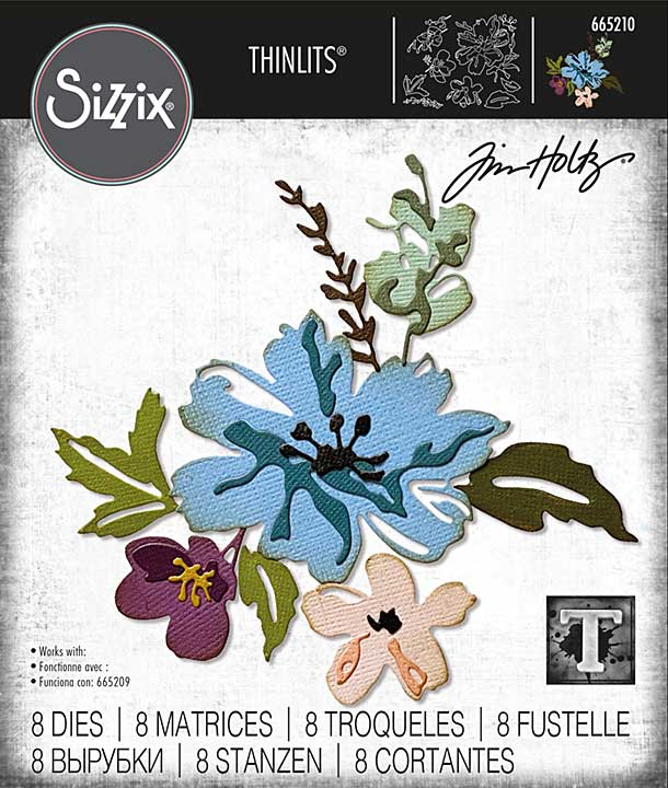 Sizzix Thinlits Dies By Tim Holtz 8pk - Brushstroke Flowers #2