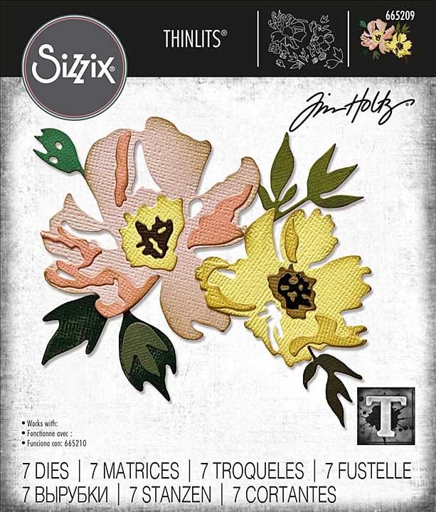 Sizzix Thinlits Dies By Tim Holtz 7pk - Brushstroke Flowers #1