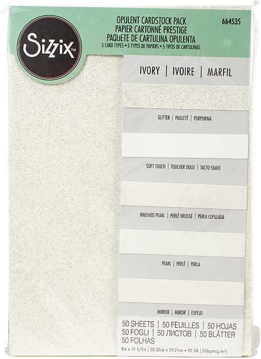 Sizzix Surfacez Opulent Cardstock Pack 8x11.5 50pk - Ivory
