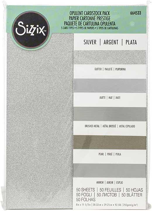 Sizzix Surfacez Opulent Cardstock Pack 8x11.5 50pk - Silver