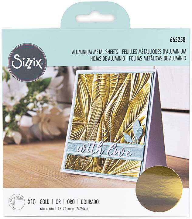 Sizzix Surfacez Aluminum Metal Sheets 6X6 10pk - Gold