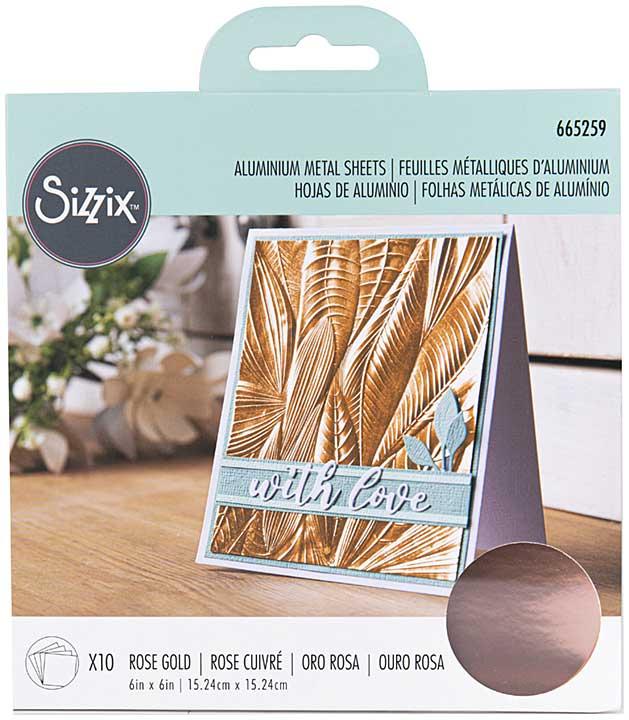 Sizzix Surfacez Aluminum Metal Sheets 6X6 10pk - Rose Gold