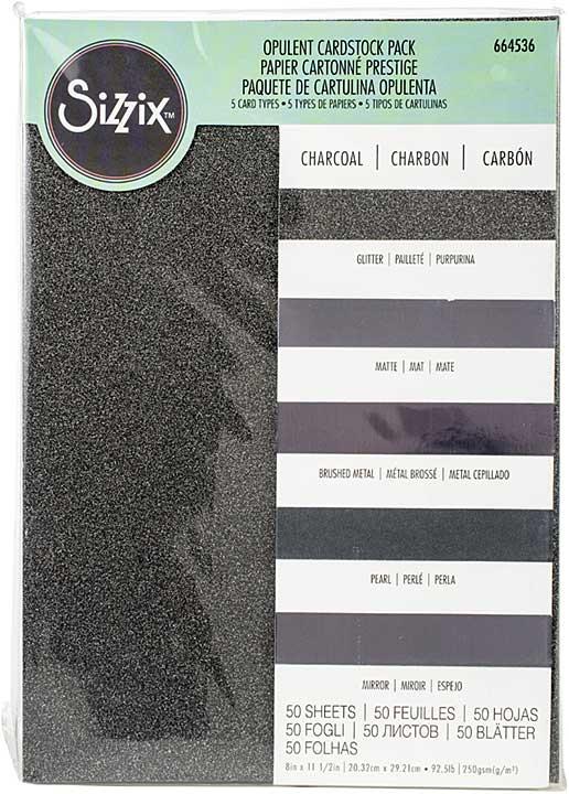 Sizzix Surfacez Opulent Cardstock Pack 8x11.5 50pk - Charcoal