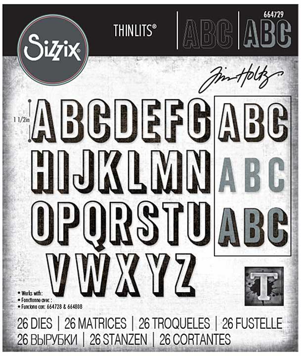 Sizzix Thinlits Dies By Tim Holtz 26Pkg - Alphanumeric, Shadow Upper