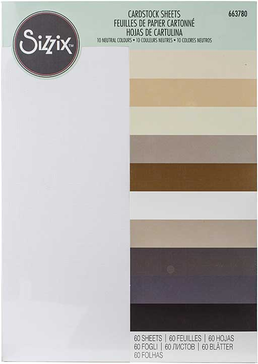 Sizzix Textured Cardstock Sheets A4 60pk - Assorted Colours-Neutrals