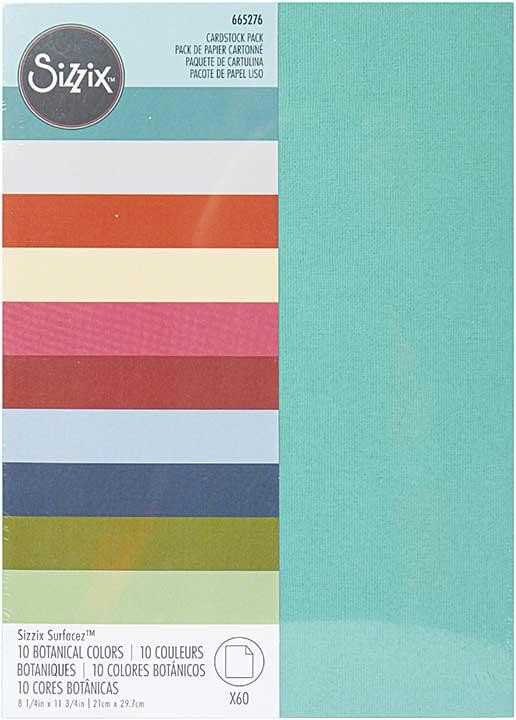 Sizzix Surfacez Cardstock Pack 8x11.5 60pk - Botanical, 10 Colours