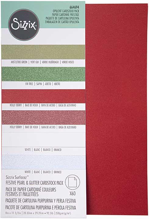 Sizzix Surfacez Cardstock Pack - Festive Pearl & Glitter 8X11.5 (60pk, 10 Colours)