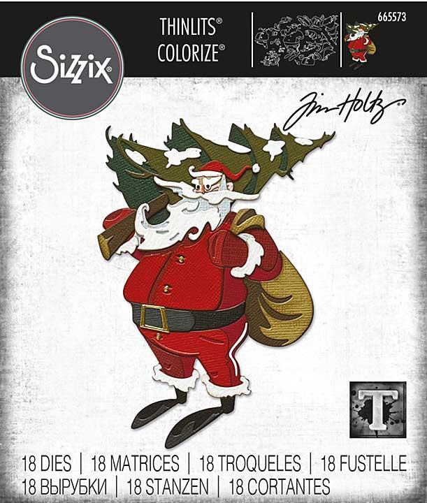 Sizzix Thinlits Dies By Tim Holtz 18pk - Woodland Santa Colourize
