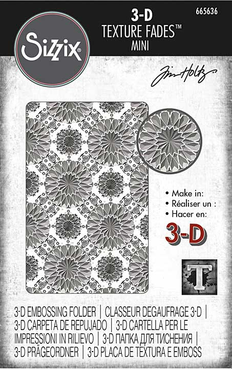 Sizzix 3D Texture Fades Embossing Folder By Tim Holtz - Mini Kaleidoscope