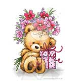 Wild Rose Studio Clear Stamp - Teddy with present