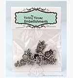 SO: Hobby House Charms - Trio of Owls - Silver
