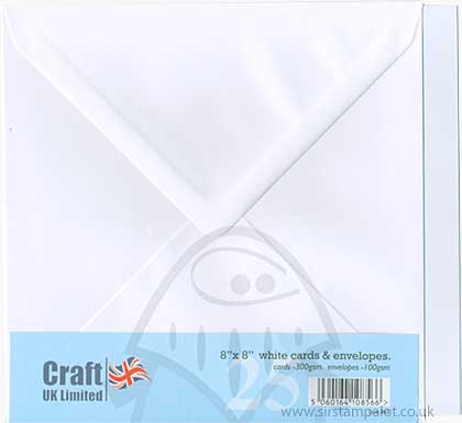 SO: Craft UK Ltd 8x8 inch Square Card and Envelopes - White (25)