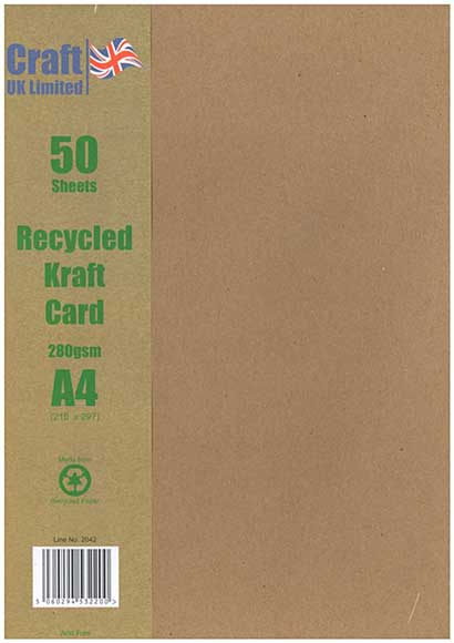Craft UK Blank Recycled Kraft Card A4, 280gsm (50 sheets)