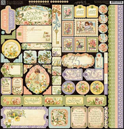 Graphic 45 - Secret Garden Collection - Cardstock Stickers