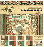 Graphic 45 Double-Sided Paper Pad 8x8 24pk - Enchanted Forest, 3 Each Of 8 Designs
