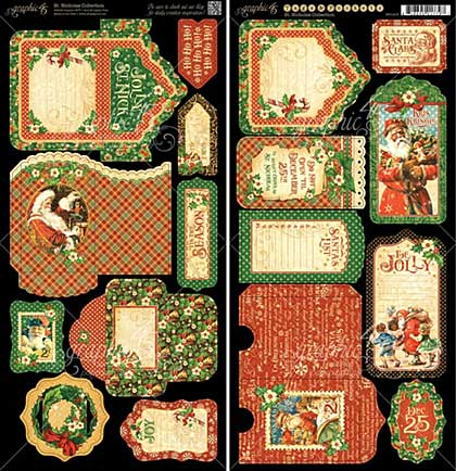 Graphic 45 St Nicholas Cardstock Die-Cuts 6x12 Sheets 2pk - Tags and Pockets