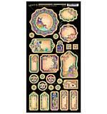 Graphic 45 Midnight Masquerade Chipboard Die-Cuts 6X12 Sheet - Journaling