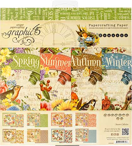 SO: Graphic 45 Seasons 8x8 Double-Sided Paper Pad 24pk (8 Designs 3 Each)