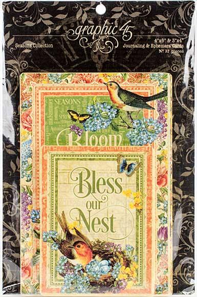 SO: Graphic 45 Seasons Journaling and Ephemera Cards 32pk (4x6 and 3x4)