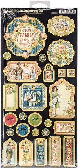 Graphic 45 Pennys Paper Doll Chipboard Decorative and Journaling Die-Cuts 6x12 Sheet