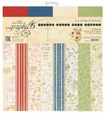 Graphic 45 Pennys Paper Doll 12x12 Double-Sided Paper Pad Print and Solid, 16pk (8 Designs)