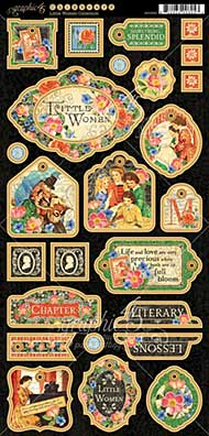 Graphic 45 Little Women Chipboard Decorative and Journaling Die-Cuts 6x12 Sheet