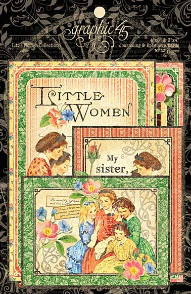 Graphic 45 Little Women Journaling and Ephemera Cards 32pk (4x6 and 3x4)