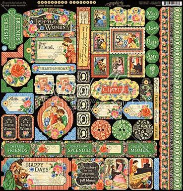 Graphic 45 Little Women Decorative Cardstock Stickers 12x12