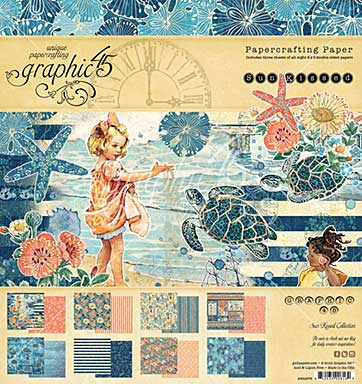 Graphic 45 Sun Kissed 8x8 Double-Sided Paper Pad 24pk (8 Designs 3 Each)