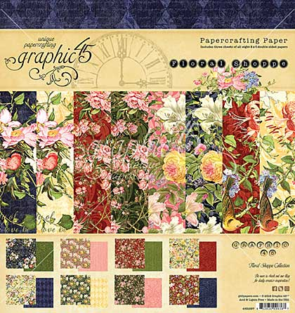 Graphic 45 Floral Shoppe 8x8 Double-Sided Paper Pad 24pk (8 Designs 3 Each)