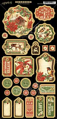 Graphic 45 Winter Wonderland Chipboard Decorative and Journaling Die-Cuts 6x12 Sheet