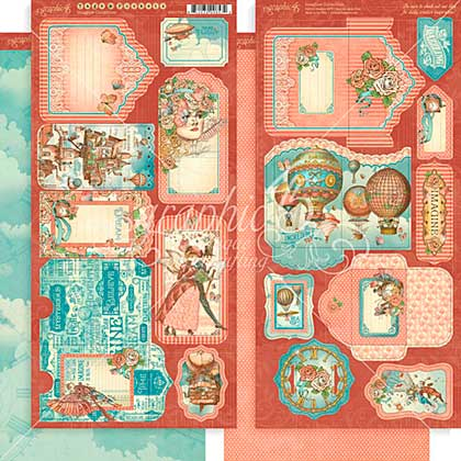 Graphic 45 Imagine - Tags and Pockets Cardstock Die-Cuts 6x12 Sheets 2pk
