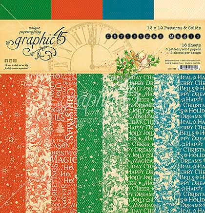 Graphic 45 Double-Sided Paper Pad 12X12 16pk - Christmas Magic, 8 Designs