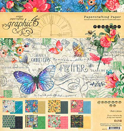 Graphic 45 Double-Sided Paper Pad 8X8 24pk - Flutter, 8 Designs